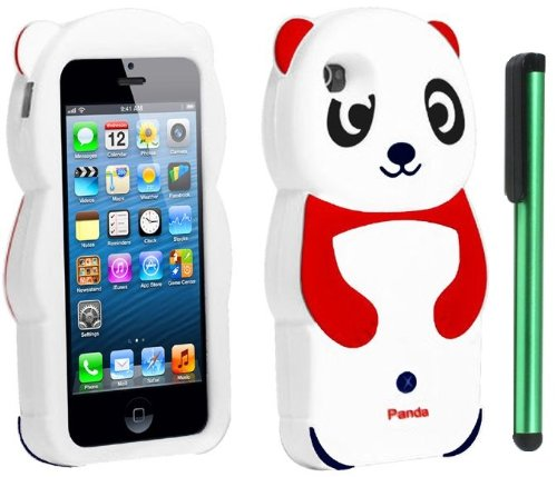 #!  Red White Smile Panda Silicone Jelly Skin Premium Design Protector Soft Cover Case Compatible for Apple Iphone 5 (AT&T, VERIZON, SPRINT) + Combination 1 of New Metal Stylus Touch Screen Pen (4