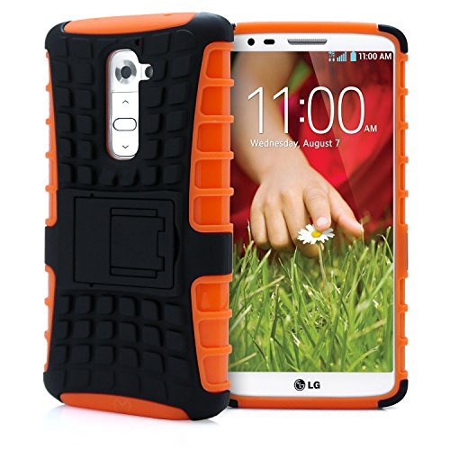 LG G2 case,[Heavy Duty Armor][shockproof][TPU+Hard case Hybrid]Dual Layer Armor Defender Protective Case Cover with kickstand for LG G2 case-Orange (Lg G2 Case Waterproof compare prices)