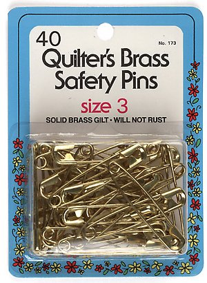 Collins Quilters Brass Safety Pins Size3 40pc