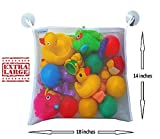 50-Off-Premium-Bath-Toy-Organizer-FREE-Bath-time-Activities-Ebook-FREE-Heavy-Duty-Suction-Hooks-Large-Mesh-Net-Storage-Bag-Making-Bathtime-Safe-Fun-for-Baby-Boys-and-Girls-White-100-Money-Back-Guarant