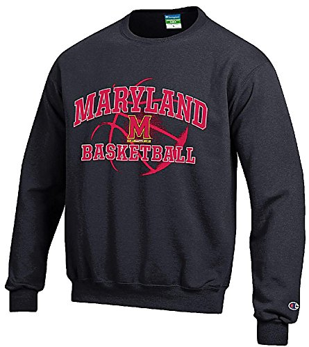 Maryland Terrapins Black Basketball Powerblend Screened Crew Sweatshirt by Champion (S=36)