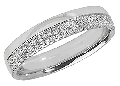 Diamond Wedding Ring Micro Set 9ct White Gold 0.20C