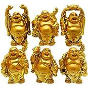 Ankita Gemstones Set Of 6 Pcs Golden Resin Laughing Buddha - Feng Shui Vastu For Office