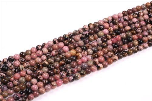 Sweet & Happy Girl'S Store 4Mm Round Rhodonite Gemstone Beads Strand 15