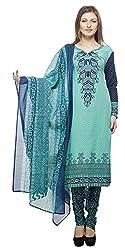 Divyaemporio Women'S Faux Cotton Green Salwar Suits Dress Material