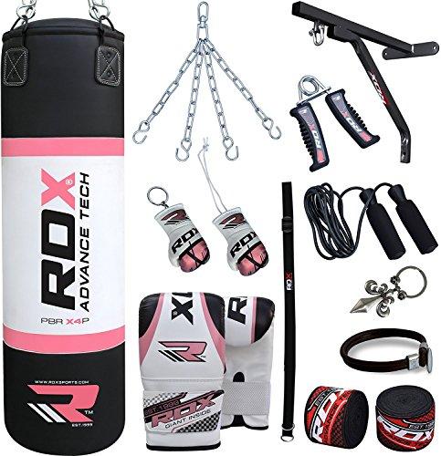 RDX Donna Boxe 17PC Pelle 4FT Sacchi Pugilato MMA Pieno Sacco Staffa Guanti Terra Base Allenamento