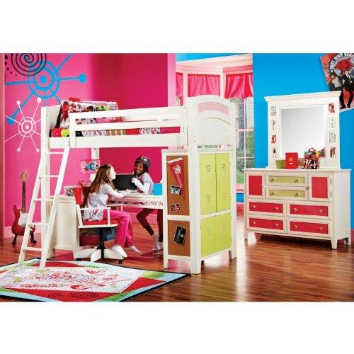High School Musical Loft Bedroom w/Desk, Bookcase, Green Locker