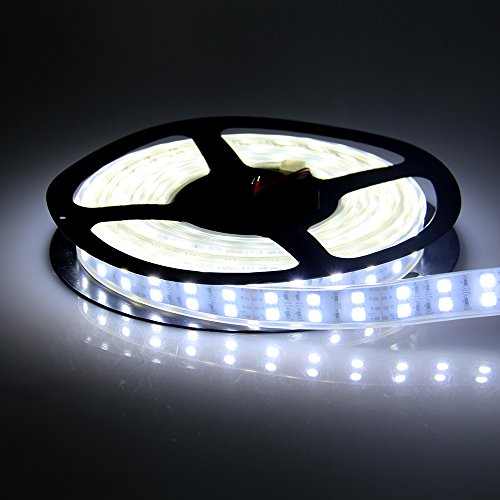 Dreamy Lighting 5050 Smd 16.4Ft 5 Meter Double Row 600Leds Cool White Waterproof Flexible Led Strip Lights 120Leds/M 600Leds/Roll String Lights