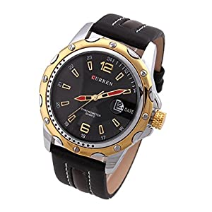 Curren Round Dial Analog Watch with Pu Leather Strap & Data Display -Black+gold