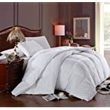 California (Cal) King Size Luxury 1200 Thread Count Year Round Super Soft 100% Egyptian Cotton White Goose Down Alternative Comforter Duvet, White Solid, 750 Fill Power, 50 Oz Fill Weight