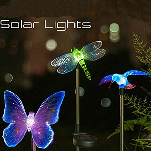 Esky® Solar Powered Outdoor Hummingbird, Butterfly & Dragonfly Solar Garden Stake Light--with Chameleon Multi-color Changing LED Light--Great Kits for Garden Decorations, and Flower Beds