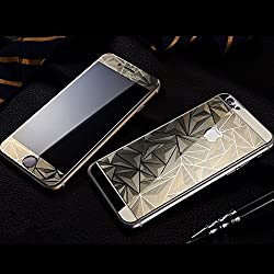 Exoic81 3D Diamond Pattern Mirror Front + Back Tempered Glass Screen Protector For Apple iPhone 5 / 5S / 5G - GOLDEN