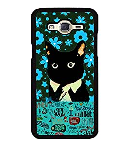 Fuson 2D Printed Cat Designer back case cover for Samsung Galaxy J5 J500F - D4215
