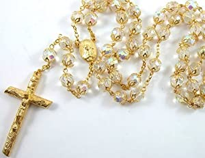 24k Gold Plated Clear Crystal Beads Double Cap Rosary Necklace Crucifix