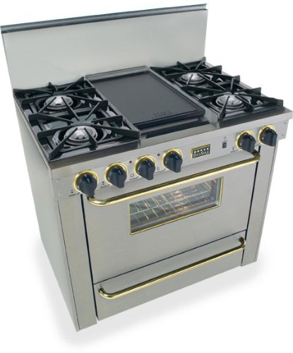 """Tpn-310-7Bsw 36"""" Pro-Style Lp Gas Range With 4 Open Burners Vari-Flame Simmer On Front Burners 3.69 Cu. Ft. Manual Clean Oven And Double Sided Grill/Griddle Stainless Steel With Brass"""