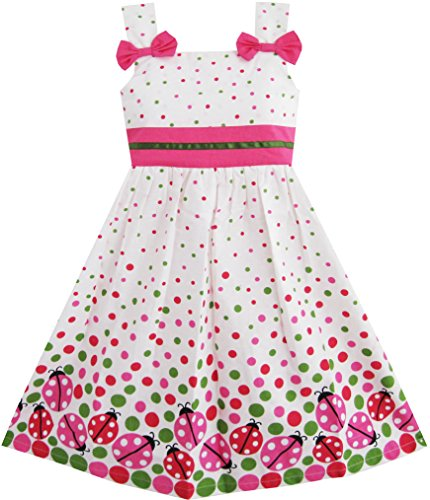 sunny-fashion-robe-fille-punaise-imprimer-colorful-point-4-5-ans