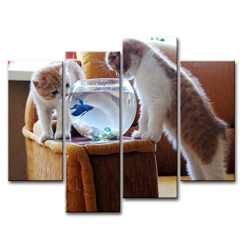 4 Piece Wall Art Painting Funny Cats Looking At Fish Tank Prints On Canvas The Picture Animal Pictures Oil For Home Modern Decoration Print Decor