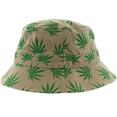 Enimay-Weed-Pot-Leaf-Bucket-Hat-KUSH-Marijuana-Fishing-Style-Hat-Leaf-Khaki-Green