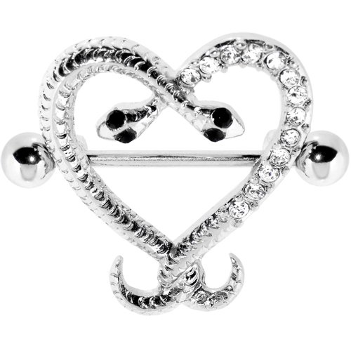 Clear Gem Heart Snake Embrace Nipple Shield