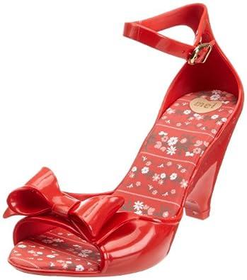Mel Women's Apple Bow Red Ankle Strap Heels 32046 3 UK