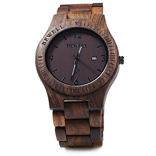 Bewell ZS - W086B Wood Men Watch Analog Quartz Movement Date Display(ebony wood )