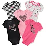 Calvin Klein Baby Girls' 5 Pack Assorted Bodysuits, Pink/Black, 3-6 Months
