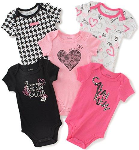 Calvin Klein Baby Girls' Assorted Short Sleeve Bodysuit, Pink/Black, 3-6 Months (Pack of 5)