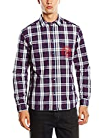 Wrangler Camisa Hombre (Burdeos / Blanco)