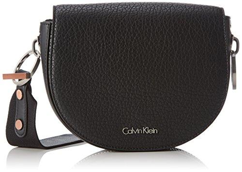 Calvin Klein JeansQUINN SADDLE BAG - Borsa a tracolla Donna , Nero (Schwarz (BLACK 001 001)), 28x20x8 cm (B x H x T)