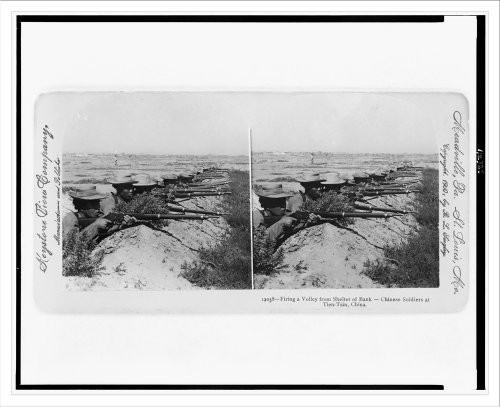 Stereoview (L): Firing a volley from shelter of bank - Chinese soldiers at Tien-Tsin China