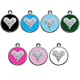 Personalized Engraved Designers Heart with Swarovski crystals dog tag cat tag (Pink)