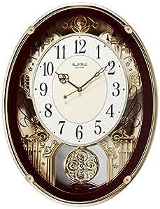 Small World(リズム時計) メロディアミューズ電波時計 スモールワールドプラウド 茶メタリック色 4MN523RH06