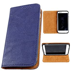 i-KitPit PU Leather Flip Case For Karbonn A25 + (NAVY BLUE)