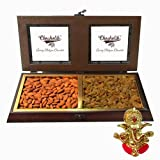Chocholik Best Combo Of Almonds & Raisin In Wooden Box With Ganesha Idol - Chocholik Dry Fruits