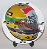 AYRTON SENNA F1 HELMET DESIGN * A CD/DVD (12 cm diameter) SIZED NOVELTY CD QUARTZ WALL CLOCK WITH FREE BATTERY AND DESK STAND * CAN BE PERSONALISED