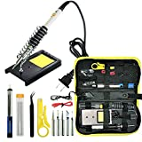 Magento's Superb 14 Pieces Set Adjustable Temperature Soldering Iron Kit 60w - 110v - Best for Small Electric Work and Welding. 5 Bonus Tips in Various Sizes + Bonus Solder Wire + Stand.