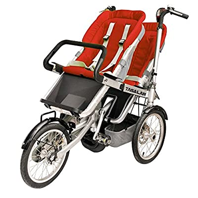 Tagalan 3 Wheels Mother Baby Bike Stroller Folding Bicycle 16inch Pushchair Bike Carrier 3 in 1 With Canopy (2 Seats, Red)