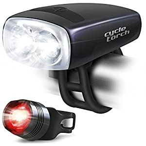 Bike Light USB Rechargeable - Cycle Torch Night Owl, Perfect Urban Commuter Bicycle Light Set - Bright TAIL LIGHT Included - Compatible with Mountain, Road ,Kids & City Bicycles, Increase Safety