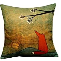 Goy Animal Series Cartoon Style the Lovely Fox Under the Tree Throw Pillow Case Decor Cushion Covers Square 18*18 Inch Beige Cotton Blend Linen by deardeer