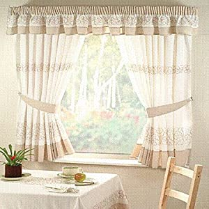 deco beige kitchen curtains 46 quot x 42 quot co uk