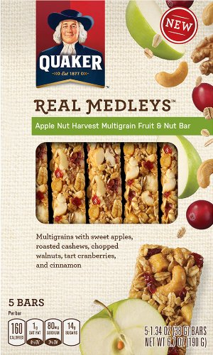 Quaker Real Medleys Multigrain Fruit and Nut Bar, Apple Nut Harvest, 6.7 Ounce (Pack of 8) (030000318003)