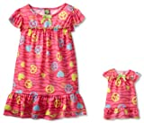 Dollie & Me Girls 2-6X Peace Print Nightgown With Doll Outfit
