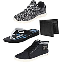 Earton Men Combo Pack Of 4 Sports Shoe With Casual Shoe & Wallet, Slipper