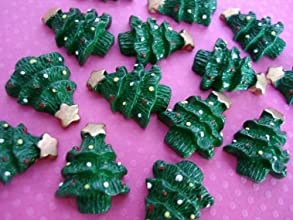 US seller 20 Green Christmas Tree Resin Flatback Buttonpaper craftbowscrapbooking B139