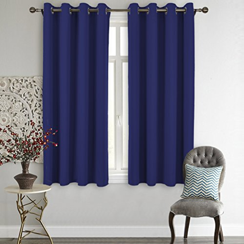 Nicetown Upgraded Thermal Insulated Grommet Top Blackout Curtains / Drapes for Kid's Room (1 Pair,52 x 63 Inch in Royal Blue) (Thermal Curtains For Boys compare prices)