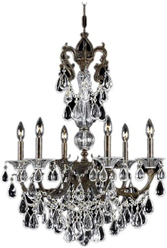 Triarch 32313 Renaissance Collection 6-Light Chandelier, English Bronze Finish with Crystal Drops and Beads