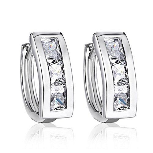 FaithYoo Jewelry Graduazione regali argento orecchini a perno a forma di ferro di cavallo portafortuna con Cubic Zirconia intarsiato