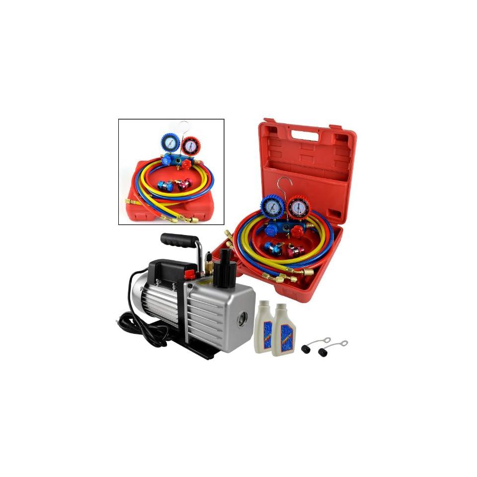 ARKSEN 1/2HP 5 CFM Vacuum Pump, Freon AC Recharge Manifold Gauge, R134A