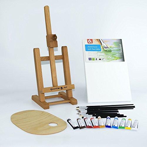 25-pcs-set-16-easel-20x30cm-canvas-a4-acrylic-paints-10x12ml-12-brushes-pelette-painting-kit