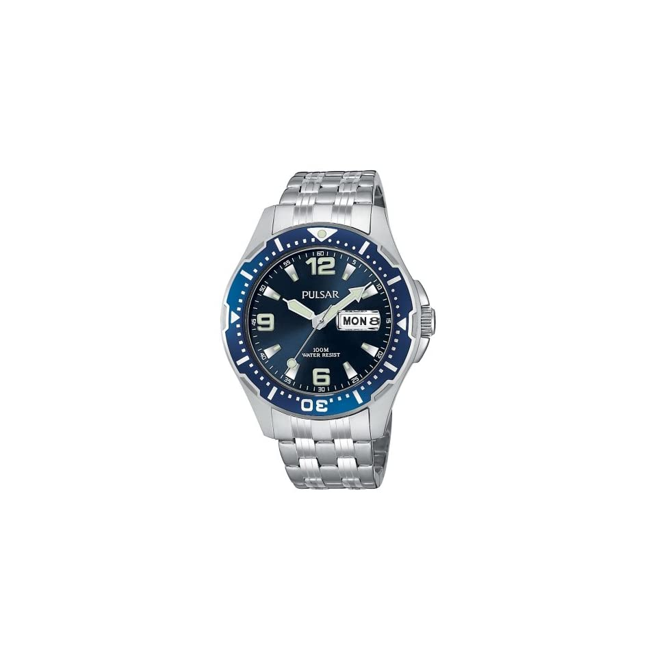 Pulsar Mens PXN107 Sport Silver Tone Stainless Steel Watch